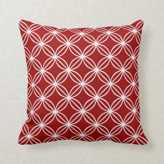 White Circular Floral Links Throw Pillow