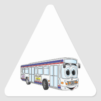 White City Bus Cartoon Triangle Sticker