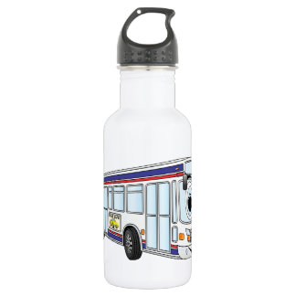 White City Bus Cartoon Water Bottle