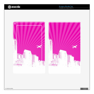 White city on pink background kindle fire decals