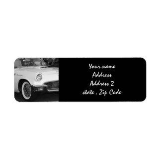 White classic car label