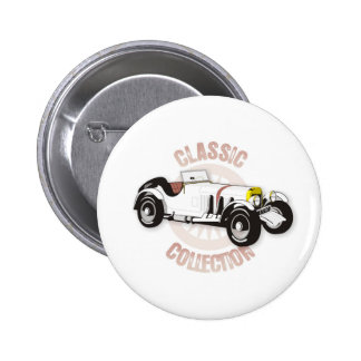 White classic racing car 2 inch round button