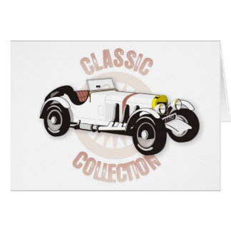White classic racing car greeting card