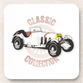 White classic racing car beverage coaster