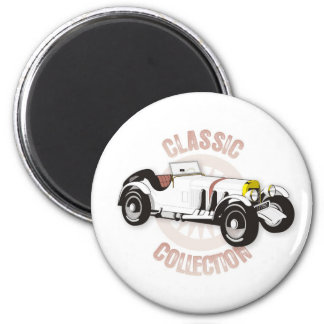 White classic racing car magnet