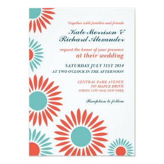 White Classic Retro Sunflower Wedding Invitation