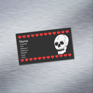 White Classic Skull Red Hearts Business Card Magnet