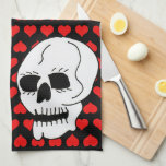White Classic Skull Red Hearts Hand Towel