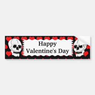 White Classic Skull Red Hearts Happy Valentine's Car Bumper Sticker