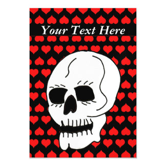 White Classic Skull Red Hearts Magnetic Card