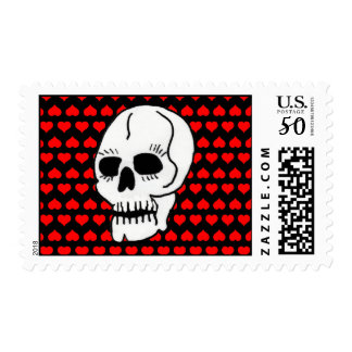 White Classic Skull Red Hearts Postage