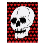 White Classic Skull Red Hearts Postcard