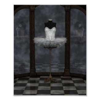 White Classical Ballet Tutu Reflections Poster