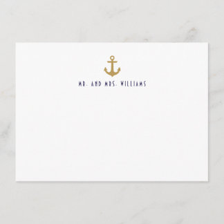White Clean Nautical Anchor Custom Stationery Note Card