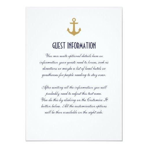 White Clean Nautical Anchor Wedding Insert Card Custom Announcement