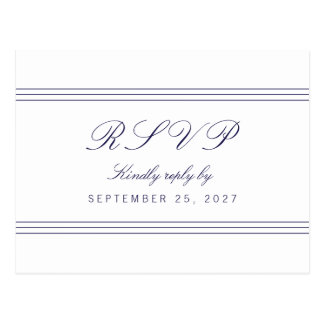 White Clean Navy Blue Lines Response RSVP Postcard