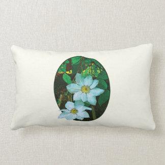 White Clematis Throw Pillows