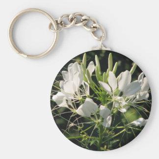 White Cleome' Spider flower Keychain