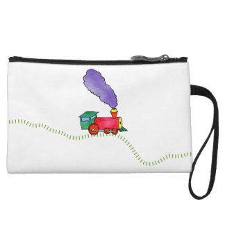 White Clickety Clack Train Wristlet Wallet