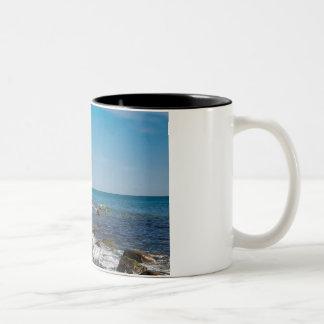 White cliffs on shore of the Baltic Sea Two-Tone Coffee Mug