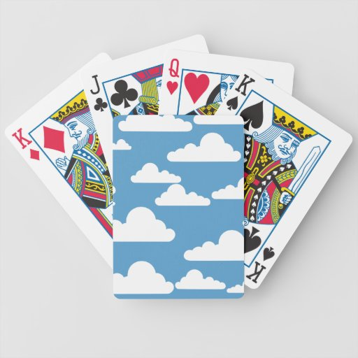 white clouds across a blue sky bicycle card decks