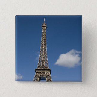 white clouds against blue sky behind the Eiffel Pinback Button
