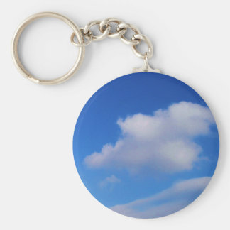 White Clouds & Blue Sky Basic Round Button Keychain
