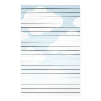 White CLouds Blue Sky Lined Paper