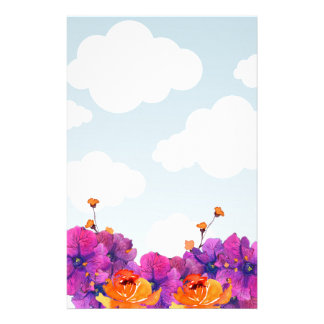 White CLouds Blue Sky with Purple Flowers Stationery