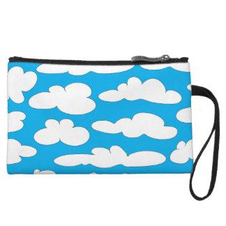 White Clouds Blue Sky Wristlet Wallet