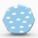 """White clouds in blue background award<br><div class=""""desc"""">Cute happy clouds for you or your baby boy.</div>"""