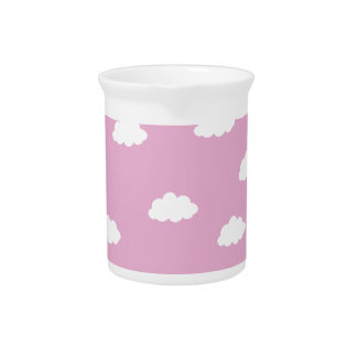 White clouds in pink background drink pitcher