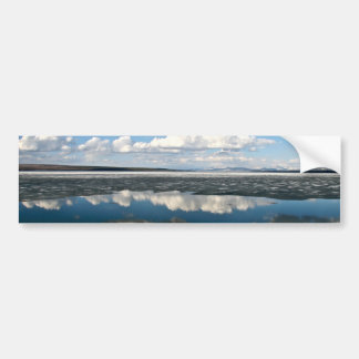 WHITE CLOUDS OVER LAKE WITH VOLCANIC CONE BUMPER STICKER