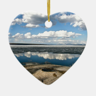 WHITE CLOUDS OVER LAKE WITH VOLCANIC CONE CERAMIC ORNAMENT