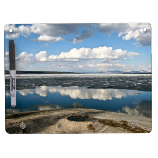 WHITE CLOUDS OVER LAKE WITH VOLCANIC CONE DRY ERASE BOARD