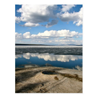 WHITE CLOUDS OVER LAKE WITH VOLCANIC CONE POSTCARD