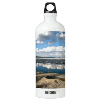 WHITE CLOUDS OVER LAKE WITH VOLCANIC CONE WATER BOTTLE