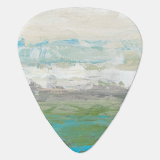 White Clouds Overlooking Beautiful Landscape Guitar Pick