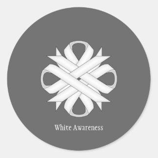 White Clover Ribbon Classic Round Sticker