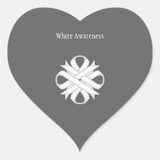 White Clover Ribbon Heart Sticker