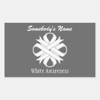 White Clover Ribbon Rectangular Sticker