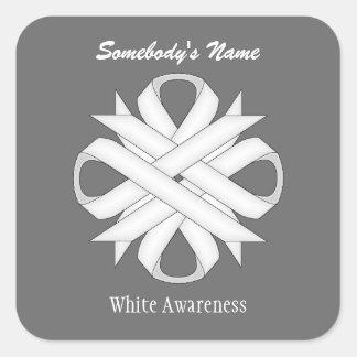 White Clover Ribbon Square Sticker