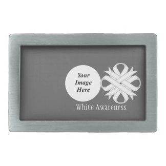 White Clover Ribbon Template Rectangular Belt Buckle