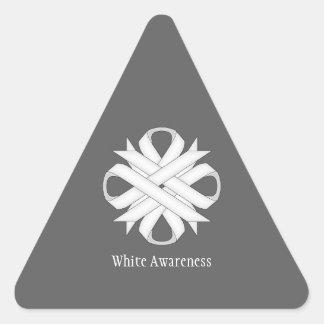 White Clover Ribbon Triangle Sticker