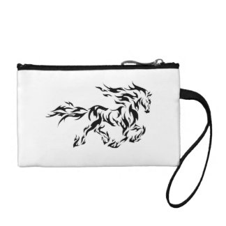 White Clutch with Flaming Stallion Coin Purses