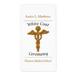 White Coat Ceremony Gold Medical, Custom Gift Label