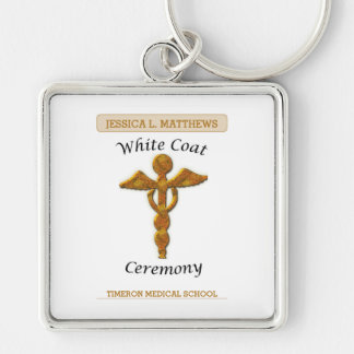 White Coat Ceremony Gold Medical, Square Gift Item Keychain