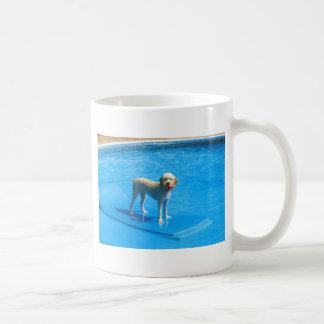 White Cockapoo Dog Swimming on a Raft Coffee Mug