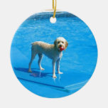 White Cockapoo Dog Swimming on a Raft Christmas Tree Ornament