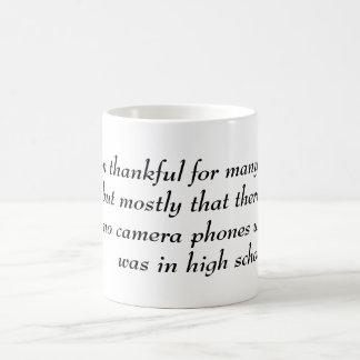 White coffee mug with inspirational saying YACF